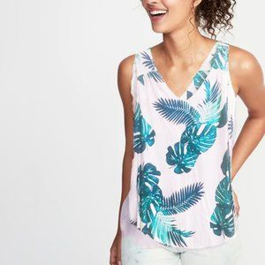 Old Navy Relaxed Fit Tank Top Tropical Palm Small
